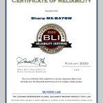 2020-BLI-MX-B476W-RELIABILITY-CERTIFIED-CERTIFICATE