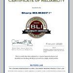 2020-BLI-MX-M3071-RELIABILITY-CERTIFIED-CERTIFICATE